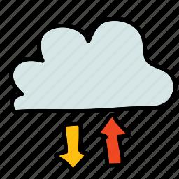 arrows, clud, down, multimedia, receive, send, up icon