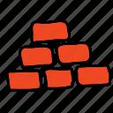 multimedia, pyramid, stacks, wall icon