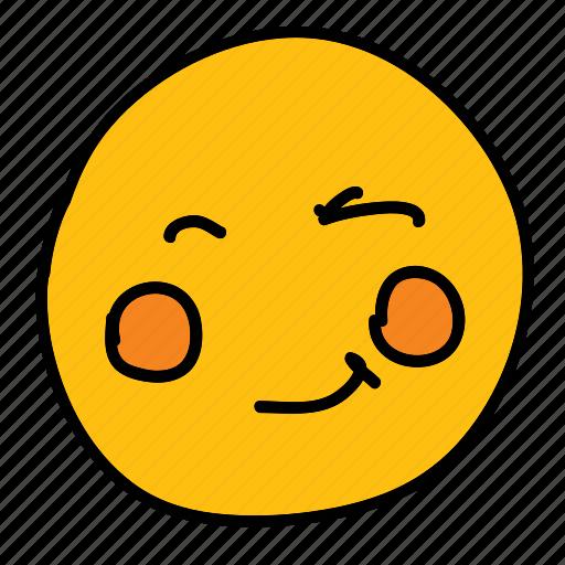 emoticon, multimedia, smiley, winking icon