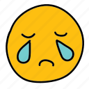crying, emoticon, multimedia, sad icon