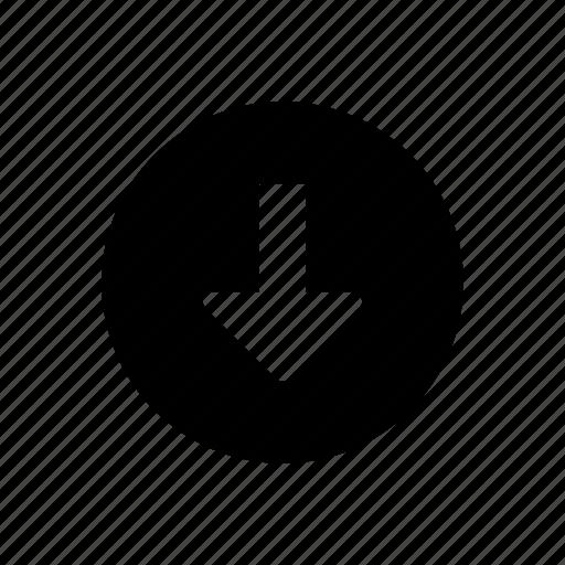 arrow, control, direction, down, download, media, multimedia icon