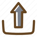 arrow, color, filled, multimedia, up, upload icon