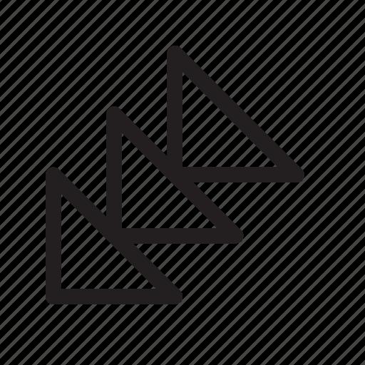 bottom-left, corner, down-left, orientation, southwest, speed, triangle icon