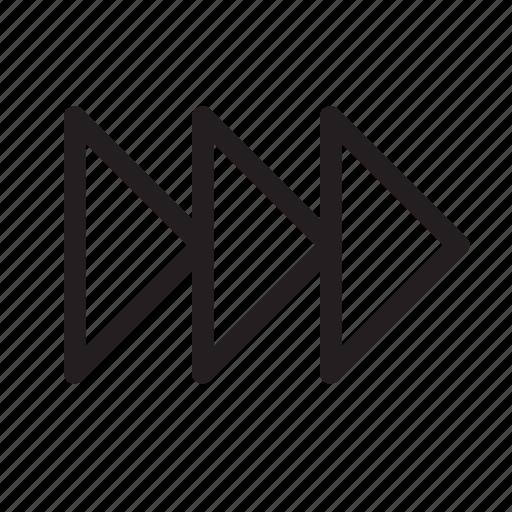 continue, fast, forward, media, next, speed, triangle icon