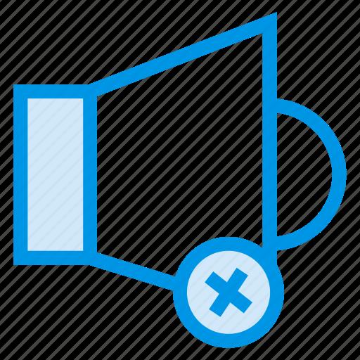 audio, media, remove, sound, speaker, voice, volumeless icon