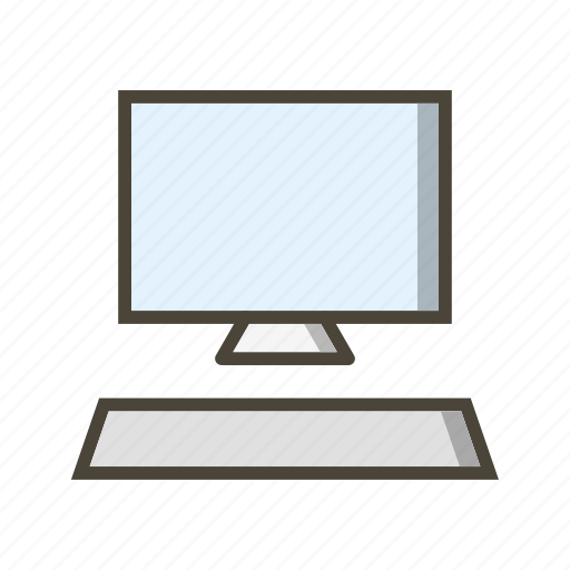 computer, keyboard, monitor icon