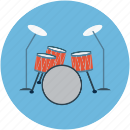 drum kit, drum set, drum with ride cymbal, drums, music instruments, snare drum, trap set icon