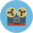 analog recording, bobbin, deck, player, record, recorder, tape recording icon