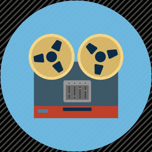 analog recording, bobbin, deck, player, record, recorder, tape recording icon