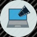 bandwidth, laptop, multimedia, music, online music, streaming icon