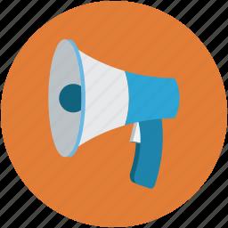 announcement, bullhorn, loud hailer, megaphone, sound, speaker, speaking trumpet icon