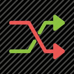 direction, exchange, mix, random, replace, shuffle icon