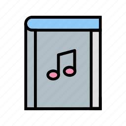 ebook, music book, music library icon