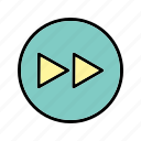 arrows, direction, forward, multimedia, play icon