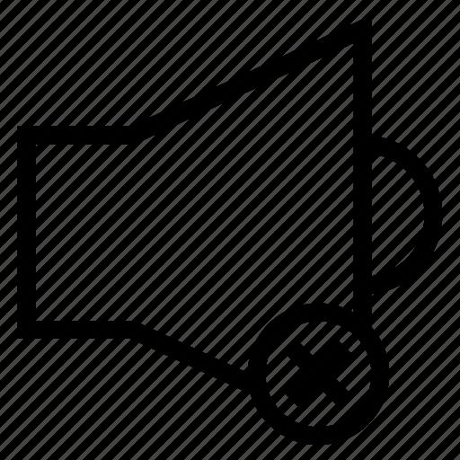 audio, media, music, remove, sound, speaker, voice icon