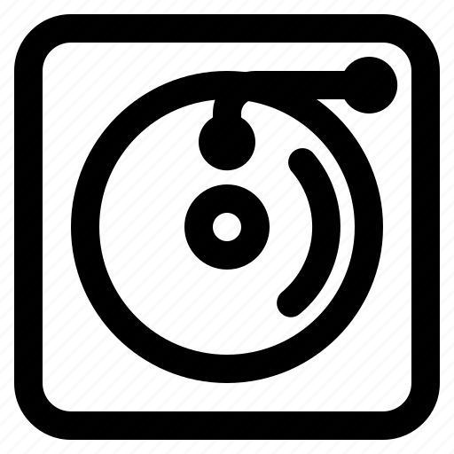 cd, icon, multimedia, music, outline, turntable icon