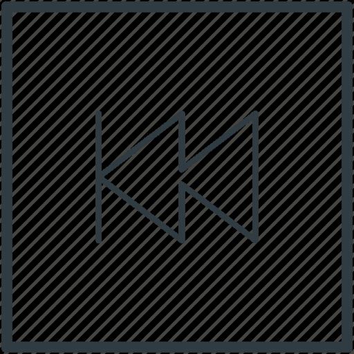 back, media button, media player, previous track, rewind button icon