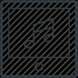 multimedia, music note, tablet, tablet media, tablet pc icon