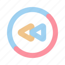backward, fast, multimedia, music, rewind, slow, video icon