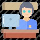 information, desk, woman