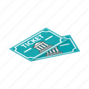 admit, coupon, event, isometric, museum, paper, ticket icon