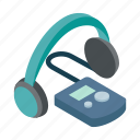 audio, headphone, isometric, mp3, music, player, technology icon