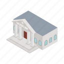 architecture, building, classical, column, exterior, isometric, museum icon