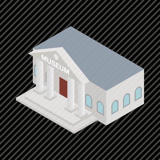 architecture, building, classical, column, exterior, isometric, museum icon