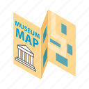 building, guide, isometric, map, museum, paper, travel icon