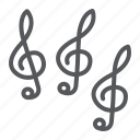 audio, clef, key, melody, music, note icon