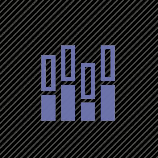 analytics, balance, bass, equalizer, play, statistics, volume icon