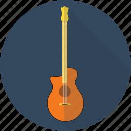 acoustic, guitar, instrument, music, retro icon