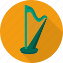 culture, harp, illustration, instrument, music icon