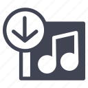 album, arrow, audio, down, download, music, sound icon