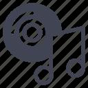 audio, cd, dvd, music, note, sound icon