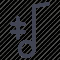 audio, music, note, sharp, sound icon