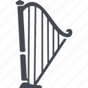 harp, music, musical instrument, sound icon