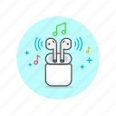 airpods, audio, instrument, music, play, sound, wireless icon