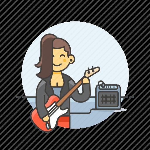 audio, bassist, instrument, music, play, sound, speaker, woman icon