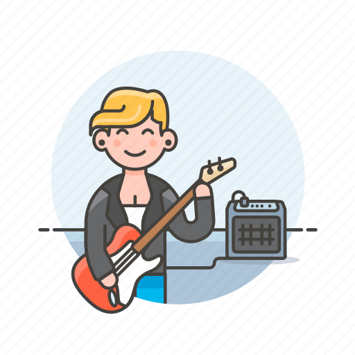 audio, bassist, instrument, music, play, sound, speaker, woman icon