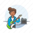 audio, bassist, instrument, man, music, play, sound, speaker icon
