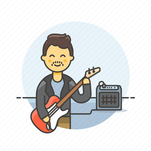 audio, bassist, instrument, man, music, play, sound, speaker icon