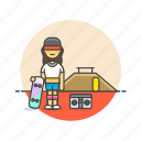 audio, boombox, instrument, music, play, skateboard, sound, woman icon