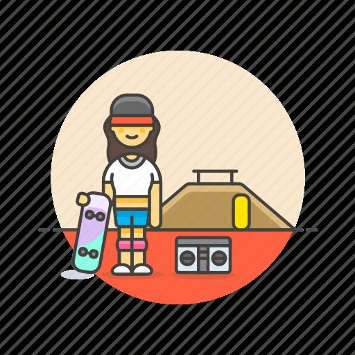 audio, boombox, instrument, music, play, skateboard, sound, woman icon