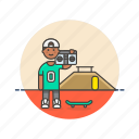 audio, boombox, instrument, man, music, play, skateboard, sound icon