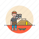 audio, boombox, instrument, man, music, play, sound, speaker icon