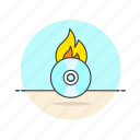audio, burn, cd, fire, instrument, music, play, sound icon