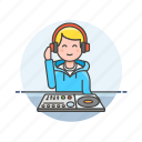 audio, dj, instrument, man, mixer, music, play, sound icon