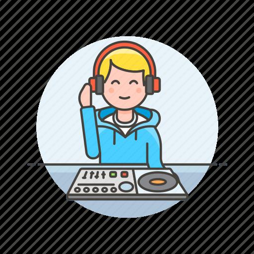audio, dj, instrument, man, mixer, music, play, sound icon