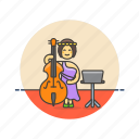 double, bassist, music, sound, instrument, play, woman, audio